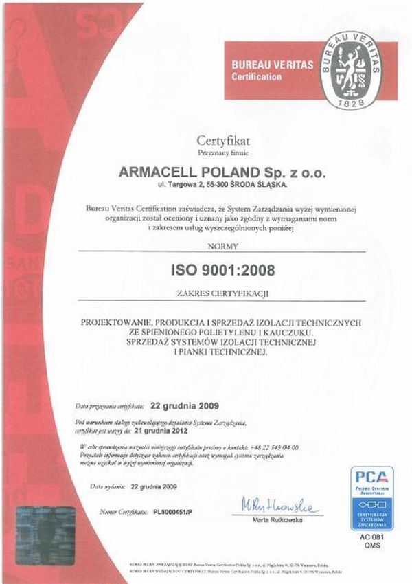 Certyfikat ISO 90012008 dla firmy Armacell, fot. Armacell