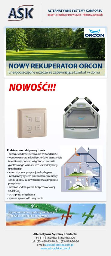 ORCON - Nowy rekuperator w ofercie ASK
